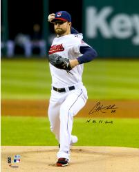 """Corey Kluber Cleveland Indians Autographed 16"""" x 20"""" Vertical Pitching in White Photograph with 14 AL Cy Young Inscription"""