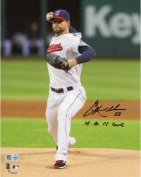 """Corey Kluber Cleveland Indians Autographed 8"""" x 10"""" Vertical Pitching in White Photograph with 14 AL Cy Young Inscription"""