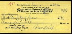 Cornel Wilde Jsa Authenticated Signed Check Autograph