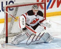 "Cory Schneider New Jersey Devils Autographed White Jersey In Net 8"" x 10"" Photograph"