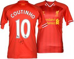 Philippe Coutinho Autographed Jersey - . . Red Back Mounted Memories