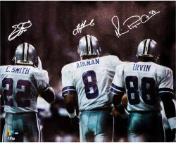"Troy Aikman/Michael Irvin/Emmitt Smith Dallas Cowboys Autographed 42"" x 35"" Canvas - Mounted Memories"