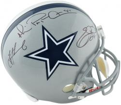 Troy Aikman, Michael Irvin, and Emmitt Smith Dallas Cowboys Autographed Riddell Replica Helmet - Mounted Memories