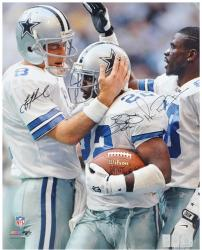 "Troy Aikman, Michael Irvin, & Emmitt Smith Dallas Cowboys Autographed 16"" x 20"" Vertical Photograph"