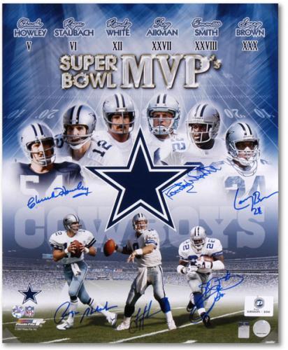 """Dallas Cowboys 6 Super Bowl MVPs Autographed 20"""" x 24"""" Photograph"""