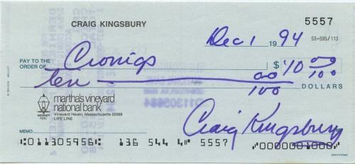 Craig Kingsbury Signed Autographed Personal Check Ben Gardner Jaws Rare!!!