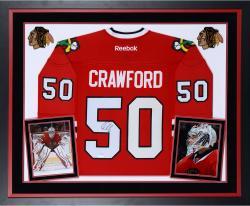 Corey Crawford Autographed Blackhawks Premier Jersey - Deluxe Framed