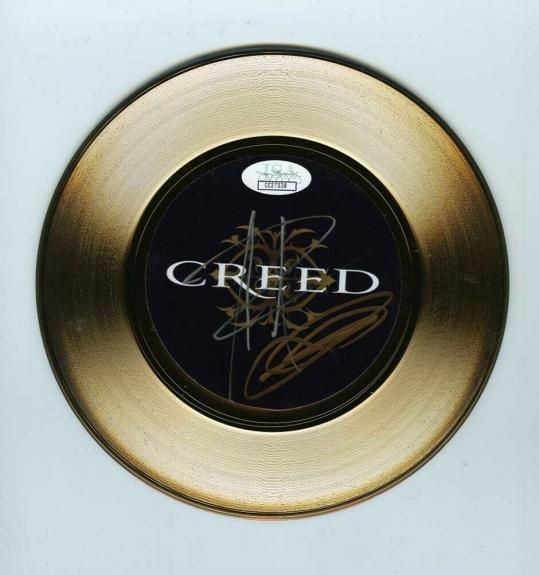 Creed Stapp Tremonti Autographed Signed Gold 45 Vinyl Record Authentic JSA COA