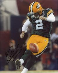 Mason Crosby Green Bay Packers Fanatics Authentic Autographed 8'' x 10'' Kicking Off Photograph