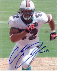 "Channing Crowder Miami Dolphins Autographed 8"" x 10"" Running Photograph"