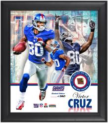 New York Giants Victor Cruz Framed Collage with Football - Mounted Memories