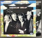 Csny Signed American Dream Album Neil Young Stills & Nash Beckett Bas #a02112