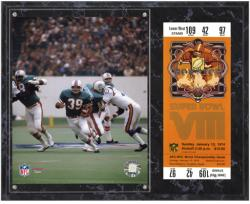 Miami Dolphins Super Bowl VIII Larry Csonka Plaque with Replica Ticket - Mounted Memories