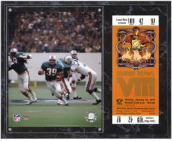 Miami Dolphins Super Bowl VIII Larry Csonka Plaque with Replica Ticket