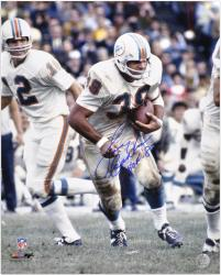 Larry Csonka Miami Dolphins Autographed 16'' x 20'' Action Photograph with HOF 87 Inscription - Mounted Memories