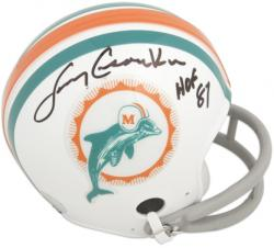 Larry Csonka Miami Dolphins Autographed Throwback Riddell Mini Helmet with HOF 87 Inscription - Mounted Memories