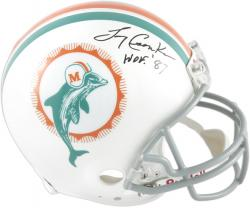 "Larry Csonka Miami Dolphins Autographed Pro-Line Riddell Authentic Throwback Helmet with ""HOF 87"" Inscription"