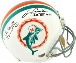 Larry Csonka & Jake Scott Miami Dolphins Autographed Riddell Pro-Line Authentic Helmet with SB VII MVP SB VIII MVP Inscription - Mounted Memories