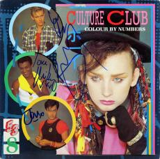 Culture Club (4) Boy George +3 Signed Colour By Numbers Album Cover W/Vinyl JSA