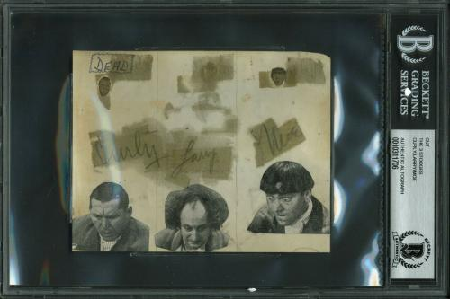 Curly, Larry &  Moe The 3 Stooges Signed 4x5 Cut Signature BAS Slabbed
