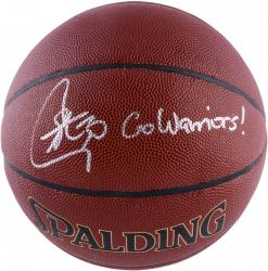 "CURRY, STEPHEN AUTO ""GO WARRIORS"" I/O BASKETBALL - Mounted Memories"