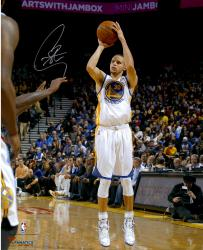 "Stephen Curry Golden State Warriors Autographed 16"" x 20"" White Uniform Shooting Photograph"
