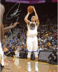 "Stephen Curry Golden State Warriors Autographed 8"" x 10"" White Uniform Shooting Photograph"