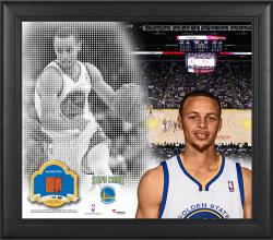 """Stephen Curry Golden State Warriors Framed 15"""" x 17"""" Mosaic Collage with Team-Used Basketball-Limited Edition of 99"""