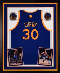 Stephen Curry Autographed Warriors Swingman Jersey - Deluxe Framed