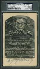 Cy Young Signed 3.5x5.5 1953 Artvue Hof Plaque Type 1 Psa/dna Slabbed