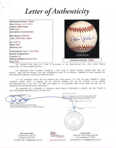 Eddie Vedder Signed Charles Fazzino Pop Art OMLB Baseball JSA