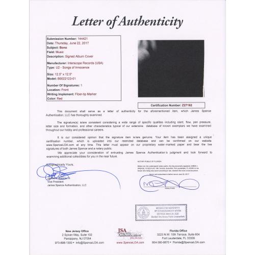 Bono U2 Autographed Songs of Innocence Album - JSA