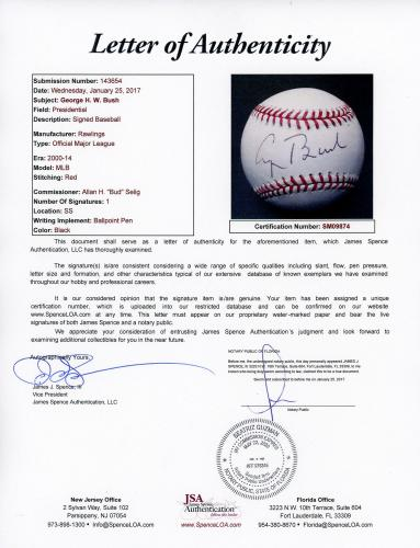 George H.W Bush Autographed Baseball - JSA LOA