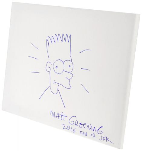 "Matt Groening Autographed 12"" x 16"" Hand Drawn Bart Simpson Sketch On Canvas - PSA/DNA COA"