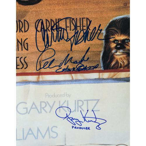 "Star Wars - A New Hope Framed Autographed 30"" x 42"" Movie Poster with 10 Signatures - Beckett"