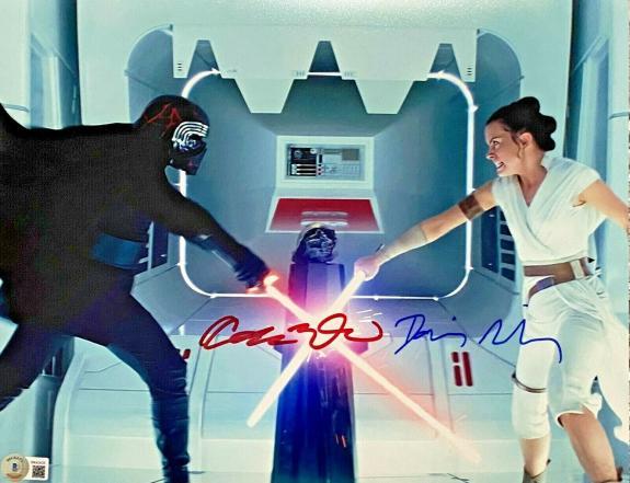 Daisy Ridley Adam Driver Signed 11x14 Star Wars Photo Ren Rey Beckett Witnessed