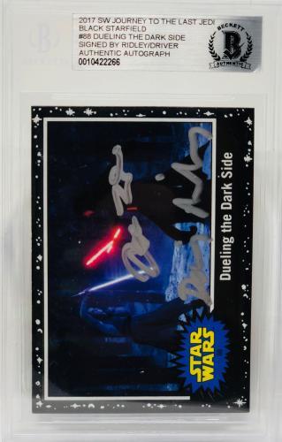 Daisy Ridley Adam Driver Signed Star Wars Last Jedi Topps Card - BAS Blk #18