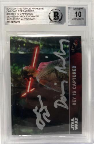 Daisy Ridley Adam Driver Signed Star Wars Last Jedi Topps Card - BAS Graded 10