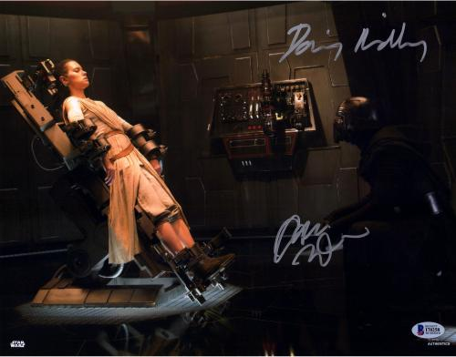 "Daisy Ridley & Adam Driver Star Wars The Force Awakens Autographed 11"" x 14"" Rey & Kylo Ren Photograph - BAS"