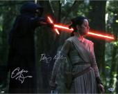"Daisy Ridley & Adam Driver Star Wars The Force Awakens Autographed 16"" x 20"" Rey & Kylo Ren Photograph - BAS"
