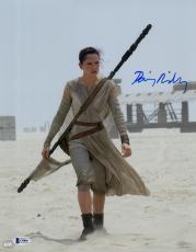 "Daisy Ridley Autographed 11"" x 14"" Star Wars The Force Awakens On Jakku Planet Photograph - Beckett"