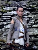 "Daisy Ridley Autographed 11"" x 14"" Star Wars The Force Awakens Posing in Front of Rocks Photograph - Beckett"