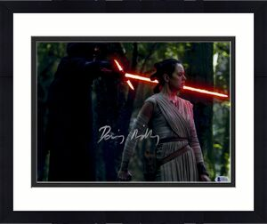 "Daisy Ridley Autographed 11"" x 14"" Star Wars The Force Awakens With Kylo Ren Lightsaber to Rey's Neck Photograph - Beckett"