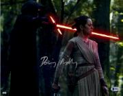 """Daisy Ridley Autographed 11"""" x 14"""" Star Wars The Force Awakens With Kylo Ren Lightsaber to Rey's Neck Photograph - Beckett"""