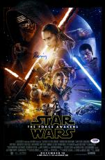 """Daisy Ridley Autographed 12"""" x 18"""" Star Wars The Force Awakens Movie Poster - PSA/DNA"""