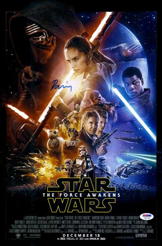 "Daisy Ridley Autographed 12"" x 18"" Star Wars The Force Awakens Movie Poster - PSA/DNA"