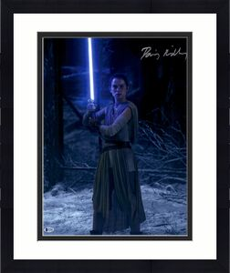 "Daisy Ridley Autographed 16"" x 20"" Star Wars The Force Awakens Holding Lightsaber Photograph - Beckett"