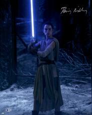 "Daisy Ridley Autographed 16"" x 20"" Star Wars The Force Awakens Holding Lightsaber Photograph - Beckett"