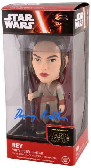 Daisy Ridley Autographed Star Wars The Force Awakens Rey Bobble head - Beckett