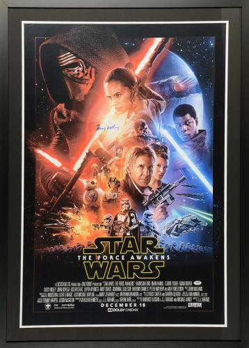 """Daisy Ridley Framed Autographed 34"""" x 46"""" Star Wars The Force Awakens Movie Poster – PSA/DNA"""